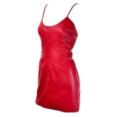 Michael Hoban North Beach Leather Bodycon Red Leather Vintage Dress 6 1