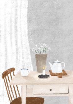 Aesthetic Iphone Wallpaper, Wallpaper Backgrounds, Tea Illustration, Color Pencil Art, Slow Living, Aesthetic Stickers, Simple Art, Cozy House, Apartment Living