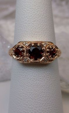 Red Garnet Sterling Silver & Rose Gold Filigree Edwardian Ring {Made To Order} #SilverEmbraceReproduction #Cocktail #any