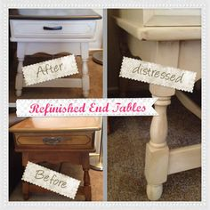 """DIY: Refinished End Tables - I sanded the entire table, used two coats of Espresso stain on the top, and painted the rest of the table with a creamish color I bought for $2 in the """"oops"""" section at Home Depot. Once the paint was dry, I hand distressed everything but the top with fine sand paper and went over the paint with Early American stain, which gave it an antique look as shown on the leg close up. These tables went from outdated to fabulous!"""