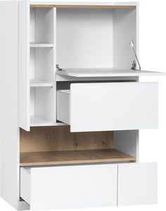 Voelkel Muto Collection, Cabinet with Serving Shelf. A raised rim prevents items from accidentally falling. It is a perfect place to put colorful boxes that define your personal look. A safety hinge protects the drop-leaf door from damage. A spacious bottom drawer features a faux double drawer façade for visual interest while staying big on space. The drawer is mounted on Quadro Silent System guides.