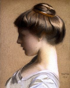 Lizzie Young, by William MacGregor Paxton - bracelet as hair decoration, around a Gibson Girl Pompadour bun? Portrait Art, Portraits, American Impressionism, And God Created Woman, John Singer Sargent, Gibson Girl, Hair Decorations, Pastel Art, Pastel Drawing