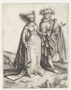 1505 - 1509 Lucas van Leyden, Strolling couple with hawk (Wandelend paar met havik)