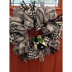 Black and White Whimsical Mesh Wreath with assorted polka dot and harlequin ribbon