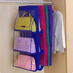 Cheap hanging shoe storage bags, Buy Quality hanging shoe directly from China shoe storage bag Suppliers: Family Organizer Backpack handbag Storage Bags Be Hanging Shoe Storage Bag High Home Supplies 6 Pocket Closet Rack Hangers Hanging Wardrobe Storage, Shoe Storage Bags, Hanging Closet, Handbag Storage, Storage Basket, Storage Rack, Bedroom Storage, Hanging Purses, Hanging Shoes