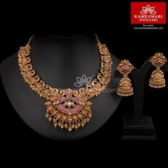 Traditional gold necklaces for women from the house of Kameswari. Shop for antique gold necklace, exquisite diamond necklace and more! Antique Jewellery Designs, Gold Earrings Designs, Gold Jewellery Design, Necklace Designs, Vintage Jewellery, Antique Jewelry, Gold Temple Jewellery, India Jewelry, Jewelry Art