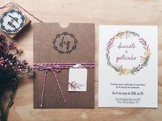 convite de casamento; convite rustico; envelope kraft; convite floral; casamento rústico;