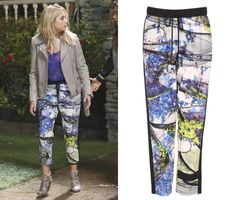 "Hanna wore these print pants in Pretty Little Liars episode ""Whirly Girl"" Clover Canyon Space Garden Track Pants - $161 (was $32..."