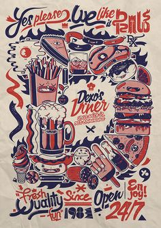 "Dudes Factory x DXTR / ""One Wish"" Collection 2011 on the Behance Network Retro Illustration, Illustrations, Digital Illustration, Rockabilly, Social Art, Cultura Pop, Graphic Design Typography, Screen Printing, Drawings"