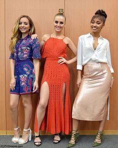 ¾ of Little Mix for TV Groove Japan. Little Mix Jesy, Little Mix Style, Little Mix Girls, Adeline Morin, Perrie Edwards, Spice Girls, Peplum Dress, Celebrity Style, Celebs