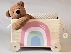 Toy box rainbow of wood with wheel/rolls storage nursery customizable with name gift for baptisms/birth Toy Rooms baptismsbirth box customizable gift Nursery rainbow storage Toy wheelrolls wood Living Room Toy Storage, Baby Toy Storage, Nursery Storage, Storage Basket, Wooden Baby Toys, Wood Toys, 9 Month Baby Toys, Girls Toy Box, Wooden Rainbow