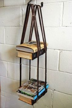 DIY Bookshelf ideas (using everything from ropes, to ladders, to benches, to pallets, to belts and string)