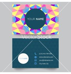 Business card template abstract colorful geometric vector by Kannaa on VectorStock®