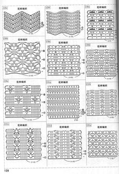 Photo from album схемы 3 on Crochet Quilt, Crochet Squares, Crochet Home, Filet Crochet, Crochet Motif, Crochet Patterns, Crochet Stitches Chart, Crochet Diagram, Knitting Stitches