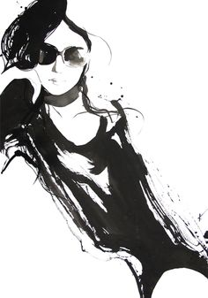 Fashion illustration - stylish black and white fashion drawing // Yasunari Awazu