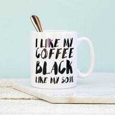 That's Nice That I Like My Coffee Black Mug (920 RUB) ❤ liked on Polyvore featuring home, kitchen & dining, drinkware, black drinkware, black mug, black coffee mug and coffee mugs