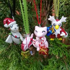Pokemon Inspired: Holiday Dewgong, Mew, Cubone and Delibird - necklace pendants / holiday ornaments! - MADE TO ORDER! Car Ornaments, How To Make Ornaments, Holiday Ornaments, Christmas Lights, Christmas Tree, Holiday Decor, Pokemon, Almost Always, Santa Hat