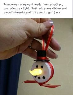 Snowman craft with battery operated tea light