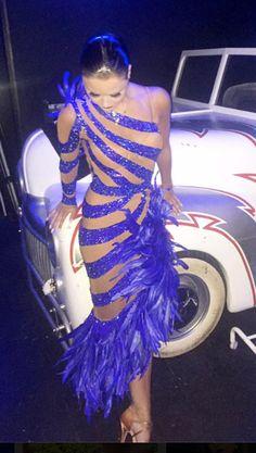 Unknown | Purple stripes with asymmetrical feathered skirt #latin #ballroom