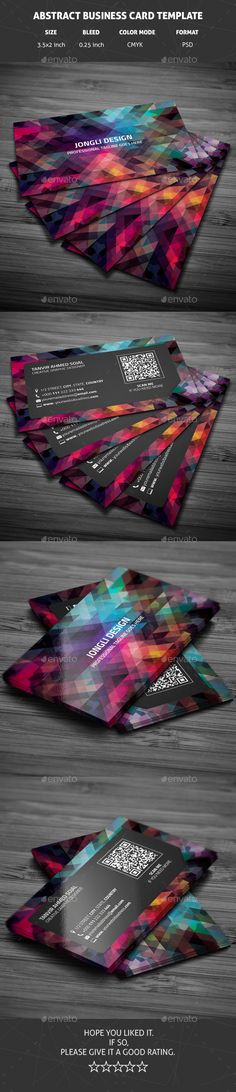 A creative business card design, perfect for any kind of company , agency or even personal use. Eye catching geometric design. F