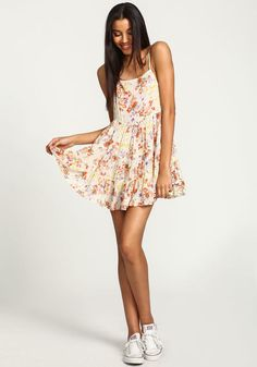 Beige Corset Back Floral Ruffled Cami Dress, BEIGE