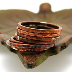 Stacking Eco Friendly Reclaimed Copper Ring with HammeredTree Bark texture, Luster