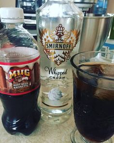 Whipped cream–flavored vodka + root beer 22 Bizarre Alcohol Combinations That Actually Taste Amazing Don't judge. Flavored Vodka Drinks, Vodka Recipes, Alcohol Drink Recipes, Yummy Drinks, Cocktail Recipes, Liquor Drinks, Bourbon Drinks, Beverages, Drink Beer