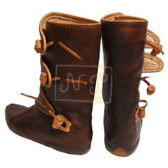 Viking Boots    Century:      9.-10.century  Material:      Veg tanned leather 2mm, soling leather 6mm   Note:      This type of boots was made according to the excavation in Belgium   Code:      B9/2  Price:      Basic handstitched turned boots from £300
