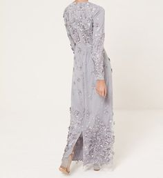silver scattered floral dress