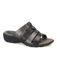 5324b4e36d28 Black  amp  Gunmetal Cade Leather Sandal  zulilyfinds
