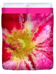 "Jubilation Glazed Peppermint Rose Queen (88"" x 88"") Duvet Cover by Anna Porter"