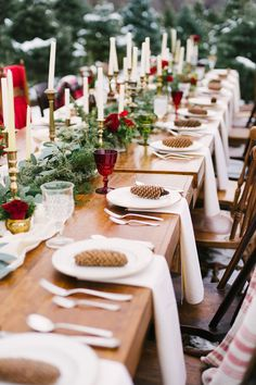 winter tablescapes - photo by Alicia King Photography http://ruffledblog.com/christmas-tree-farm-wedding-inspiration-with-tradition