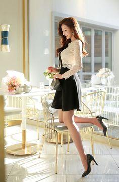 Korean Women`s Fashion Shopping Mall, Styleonme. Korean Fashion Office, Asian Fashion, Colorful Fashion, Fashion Models, Girl Fashion, Fashion Outfits, Womens Fashion, Beautiful Asian Women, Sexy Asian Girls