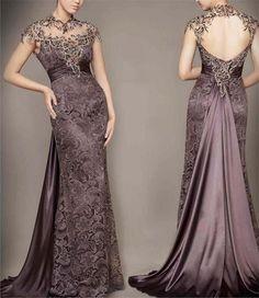 New Mature Sexy Prom Dresses High Collar Lace Evening Gown Cap Sleeve Vestidos De festa Custom Made