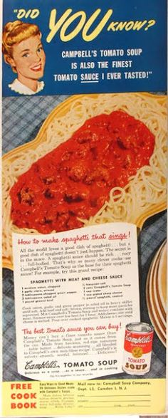 Campbell's Tomato Soup Spaghetti with Meat and Cheese Sauce - my mother-in-law actually made this... for years!