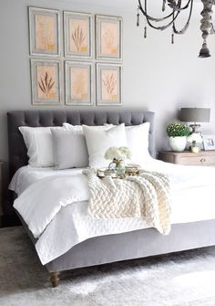 💖 home interior decoration 22 grey and white bedroom ideas interior design ideas 13 White Bedroom, Home Bedroom, Bedroom Interior, Home Decor, Grey Headboard Bedroom, Bedroom Inspirations, Chic Bedroom, Grey Headboard, Bedroom Headboard
