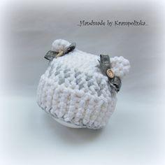 Grey baby beanie with ribbon – Krampolinka