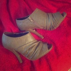 Charles by Charles David open toe booties size 6 Light brown/dark taupe brown bunched leather open toe booties with zippers on the side. Worn 3 times. In great condition. Size 6. Brand: Charles by Charles David. Charles David Shoes