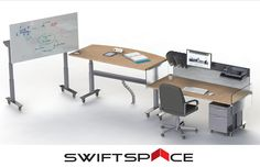 Foresight benching system with two Shape desks. The Shape provides you with the option of having a display set-up.