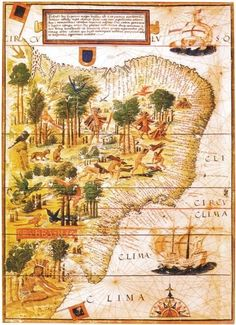 """Terra Brasilis"" by Portuguese astronomer and cartographer Lopo Homem-Reinéis, is a map of Brazil as it was in 1519, a few years after the beginning of Portuguese colonization. This map is currently in the French National Library."