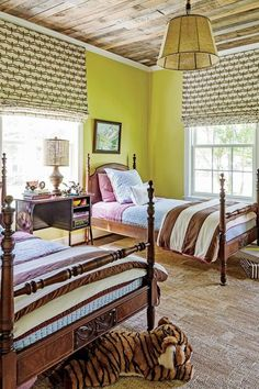 The Kids' Room - Holiday Home Decorating - Southern Living. I like the Roman shades mounted at the ceiling. Christmas Colour Schemes, Christmas Colors, Christmas Home, Condo Living, Southern Living, Southern Baby, Preppy Southern, Bedroom Colors, Bedroom Ideas