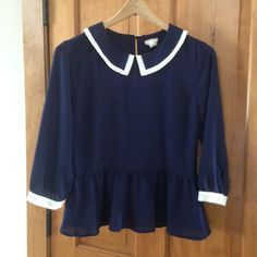 Navy blouse Adorable navy blouse! Kind of reminds me of Wednesday Addams  one clothing Tops Blouses