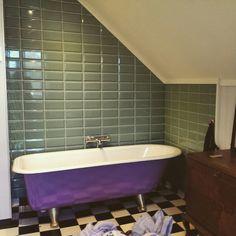#bathroom #ironcast #cast #tub #bath #colorful #metrotile #victorian #purple #vintage #clawfoot Metro Tiles, Tubs, Bathroom Ideas, My House, Victorian, Iron, Colorful, Purple, Vintage