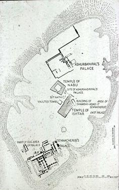Plano de la colina de Kuyunjik en Nínive. Capital de Asiria en tiempos de Sennaquerib (705-681 a.C.)