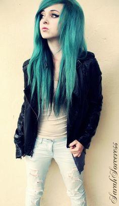 Emerald sea green hair