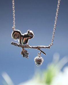 Squirrel On a Branch Necklace