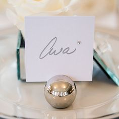 Classic Round Place Card Holders - Silver or Brushed Gold