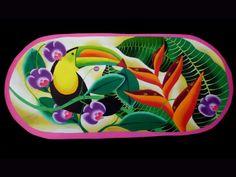 "Love these colors! A ""batea"" - hand painted platter from Costa Rica. http://galerianamu.com/shop/folk-arts/original-paintings/folk-art-painting-cv07 $205"
