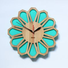 Bamboo Retro Green Wall Clock   70s Floral by HOMELOO on Etsy, $49.99