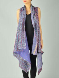 Slate-Blue Upcycled Silk-Saree Kantha Shrug (Free Size)